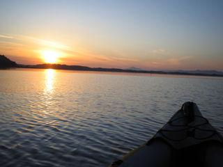 涸沼と筑波山の夕焼け